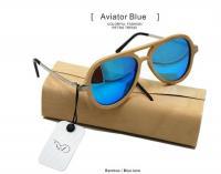 Солнечные очки с деревянной оправой Aviator Blue W010