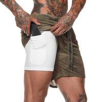 Быстросохнущие мужские шорты для бега 2 в 1 лот 3390